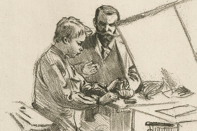 Skiss av herre med mustach som lär ut något till en pojke.